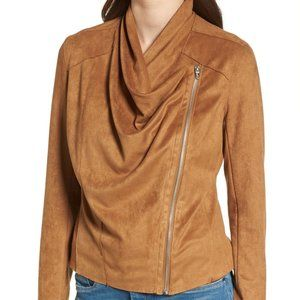 Camel Color Faux Suede Drape Front Jacket